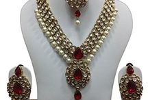 Bollywood Style Wedding Party Kundan Jewelry Necklace Set