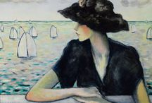 Acrylic Paintings / Jean Pierre Cassingeul born July 13 1935 in Paris.  A French painter reknoen ed for his serene portraits of ladies in hats, that reveals the French Post Impressionist; Avante - Gardi....  including the works of Roger Chappelin - Midy, Pierre Bonnard and Edovard Vuillard...