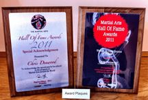 Presentation Plaques for         Martial Arts Awards / Capture that special achievement with a quality award plaque. Our bespoke sublimated plaques allow you to have any image, even high quality full-colour photos, sublimated onto an Aluminium plaque. Available in gold, silver or white background and mounted onto a rosewood veneer, piano finish rosewood, black piano finish, solid walnut backboard or a self standing rosewood wedge block.  #martialartssupplies