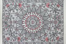Madhubani Paintings, Indian Art / On Handmade Paper, only on www.StoryLTD.com