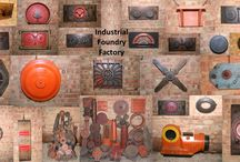 Industrial Foundry Wall Collection / Collection of Industrial Foundry moulding templates circa:1920s to 1960s, made out of wood with some having the original colours on them. These would have been laid into sand to make a mould and then removed. Molten metal would have then been poured in the sand to make a casting. Would look fantastic on a wall