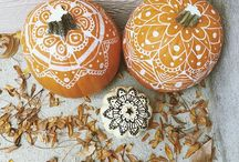 Pumpkin & Gourd Mandalas / Pumpkins and gourds are a wonderful surface for creating mandalas. Examples include carved, drawn, and painted designs.