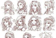 schema coiffure fille a dessiner