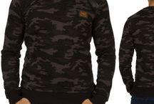 Heren Camouflage Sweater met Rits Zwart