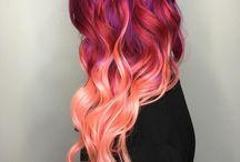 saç şekil ve renk karışımları