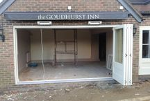 New bar at The Goudhurst Inn / One of our local pubs, having an upgrade and refit.  Bar and joinery and beautiful sliding folding doors by Mounts Hill Woodcraft & Design. www.mountshill.com