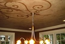 Decorative Ceilings / Ceilings are often a forgotten design element in interior design. Think of them as another wall and go beyond just white paint. We just finished a project in West Hartford, CT were we had decorative painter, Sandy McRae create two decorative ceiling in the bar room (simulating a copper ceiling by painting a textured wallpaper) and dining room (layered colors of paint with a stenciled design in the center of the ceiling). The results are stunning! Here are some more examples.