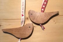 **Limited Time Only** - Christmas Robins / Quirky little Christmas Robins using reclaimed English oak. The English oak was salvaged from an old Queen's university lecture theatre were the old pews were dismantled to be used for a number of different items. We designed a simplistic template, something modern and not too over the top, which was then drawn onto the boards, and cut out using a ban saw. A hole was then drilled down the centre so as the piece of ribbon could be attached so that the decoration could hang on a tree.