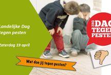 Dag tegen het pesten / Vind je pesten ook niet ok? Doe mee met één van de vele activiteiten die worden georganiseerd op zaterdag 19 april, De Landelijke Dag tegen Pesten. Bekijk hier tips en manieren om pesten onder de aandacht te brengen in de klas: http://landelijkedagtegenpesten.blogspot.nl/