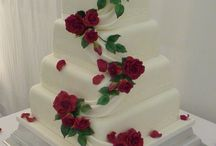 Wedding Cakes with red.