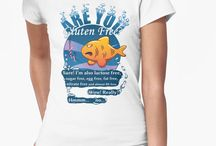 The Gluten Free Fish /   Gluten Free or not Gluten Free, that is the question. Then again some people just have gluten free because it's cool to eat different. This illustration could help you remember if you should or shouldn't pay attention to your allergies while you go for a swim this summer.