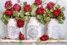 Imagens - Flores em recipientes 1 / Pintura, ilustração e arte decorativa