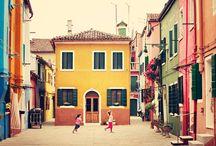 Burano island of Venice Italy / Burano island of Venice Italy