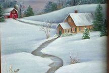 ζωγραφικη χριστουγενιατικα χιονισμενα τοπια