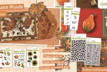 CraftEmotions Autumn Woods / A collection matching products for cardmaking, mixed media and more. Available products: decorated paperstack, dies, clearstamps, masks, wooden ornaments