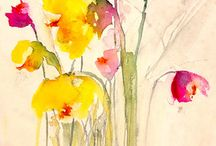aquarelas de flores