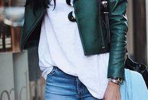 jaqueta de couro verde