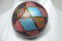 My works. Wooden ringing balls. Colorful Wood Burning Art