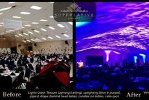 wedding lighting - before & after / wedding lighting before and after / by Superlative Events