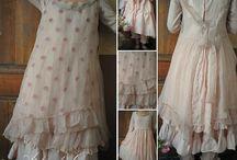 robe romantique / abiti romantici in cotone lino seta....