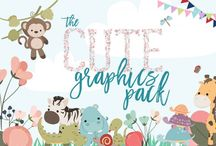 The Cute Graphics Pack / This super cute pack comes in 100% accessible formats, such as JPEG and PNG, as well as editable EPS files.