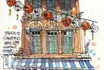 Urban sketches aquarel