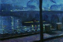 Edvard Munch (1863-1944) / Peintre norvégien appartenant au courant de l'Expressionnisme. Ce mouvement privilégie l'expression de l'émotion ou d'une angoisse au détriment d'une représentation qui doit également renforcer l'expressivité. Les compositions sont simplifiées, les couleurs sont vives et la trace du geste du peintre est très présente. Tout concourt à provoquer chez le spectateur un certain malaise.