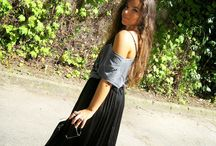 Long black skirt.