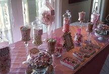 Pink and white baby shower Candy buffet