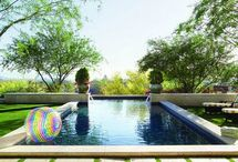 Pool landscaping with grass