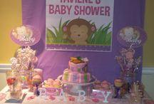 Pink monkey Baby Shower