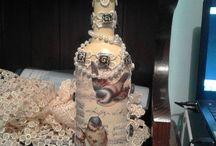 bottiglie, barattoli decorati e quant'altro