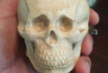 ivory memento mori skull with pocket watch