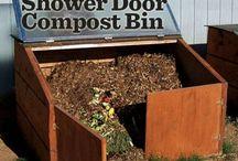 shower door compost bin