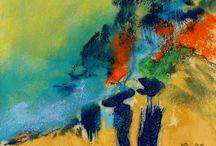 pastels et pigments / expressionisme abstrait  paysage lyrique