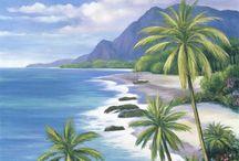 paisajes de playas y palmeras