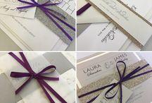 Purple wedding invitations and stationery