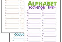Skole/ førskole bli kjent med bokstaver / Sporings oppgaver, alfabetjakt,