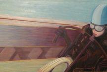 ZONE ROUGE / harley Davidson/ BOARDTRACKER /MOTO Huile, pastel sur toile  120x50