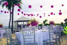 Outdoor beach wedding reception.