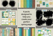 SPRING SCRAPBOOK KITS / Spring themed digital Scrapbook Kits