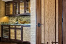 Asian Inspired Doors Designed into a Plam Beach Florida Home / This Asian inspired retreat on the East coast of Florida is a beautiful lesson in texture and design.  Simmons Interiors Group was not shy at all in fully incorporating the doors into the design of the home.  The custom TS1000 doors feature Bamboo panels along with Mahogany stiles, rails and a custom applied sticking.  The geometric design featured on the doors is carried throughout the home on furniture, cabinets and the ceiling detail.