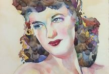 Ted Nuttall watercolor workshop / Watercolor, women, portraits, vogue, art, Ted Muttall