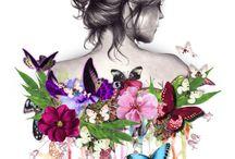Sırtı çiçekli kız