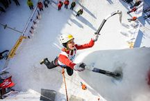 Ice climbing / Ice climbing competitions invovlving  athletes of Red Fox team