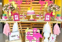 festa party pool e flamingo