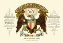 Historical coat of arms in the american states from 1876 / Statsvåpen i farger, lokalt statlig banksegl i rødbrunt.