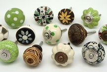 Mixed Green ceramic and hand carved wood and natural cupboard door knobs / Don't be afraid to mix different styles sizes and colours of door knobs - the effect is stunning. To mix and match door knobs and upgrade your furniture see 500 more designs at www.theseplease.co.uk