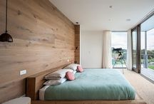 Bedroom with Wood Wall