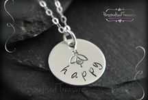 Personalised necklaces / Sterling silver necklaces hand stamped with your own words